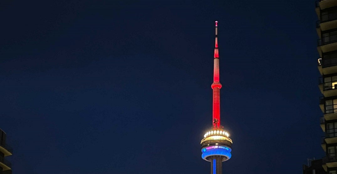 Leafs fans weren't happy to see the CN Tower lit up in Canadiens colours