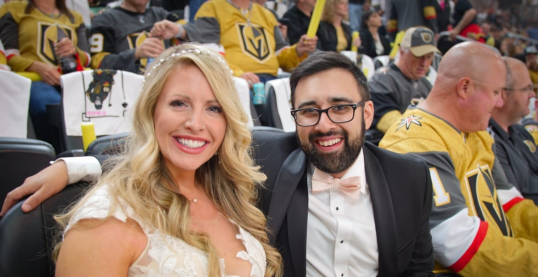 Bride and groom share funny moment at NHL playoff game in Vegas