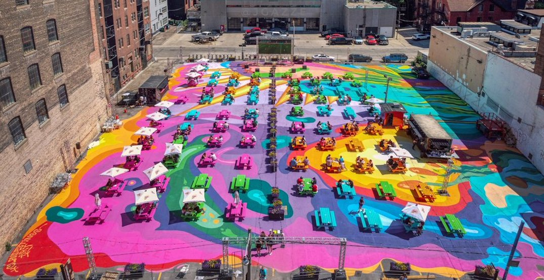 Toronto's colourful outdoor patio is offering free haircuts