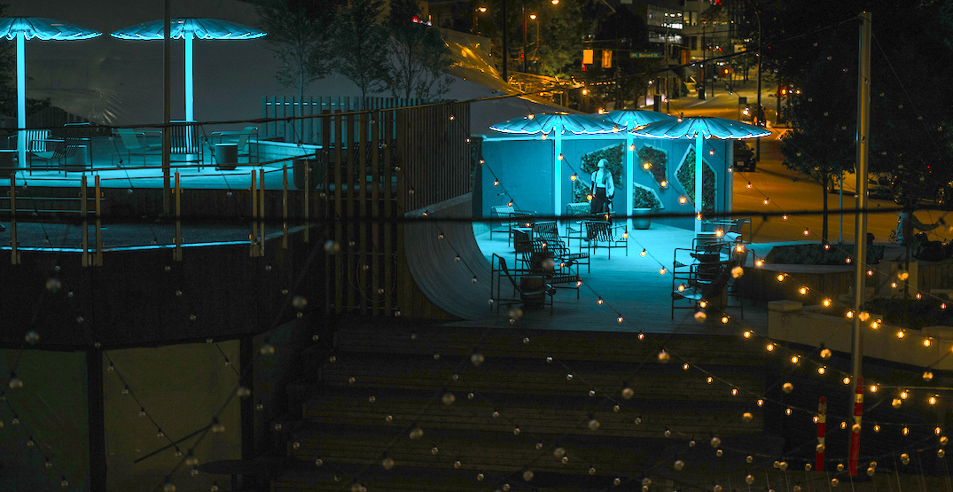 Redesigned Bentall Centre plaza opens with giant LED mushrooms (PHOTOS)