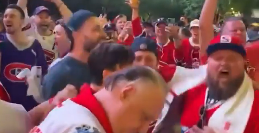 Montreal Canadiens fans celebrate playoff win outside arena in Vegas (VIDEOS)