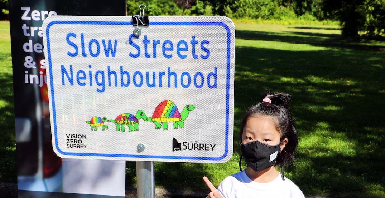 """Slow Streets"" zones as low as 30 km/hr now in effect in Surrey neighbourhoods"