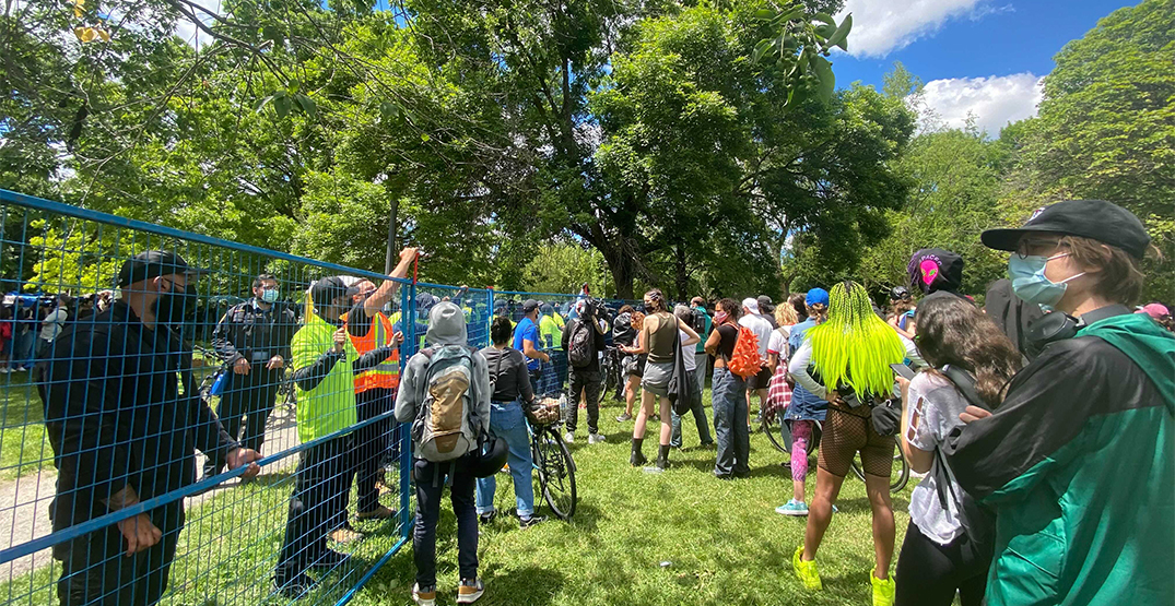 Protesters arrested during homeless encampment evictions at Trinity Bellwoods