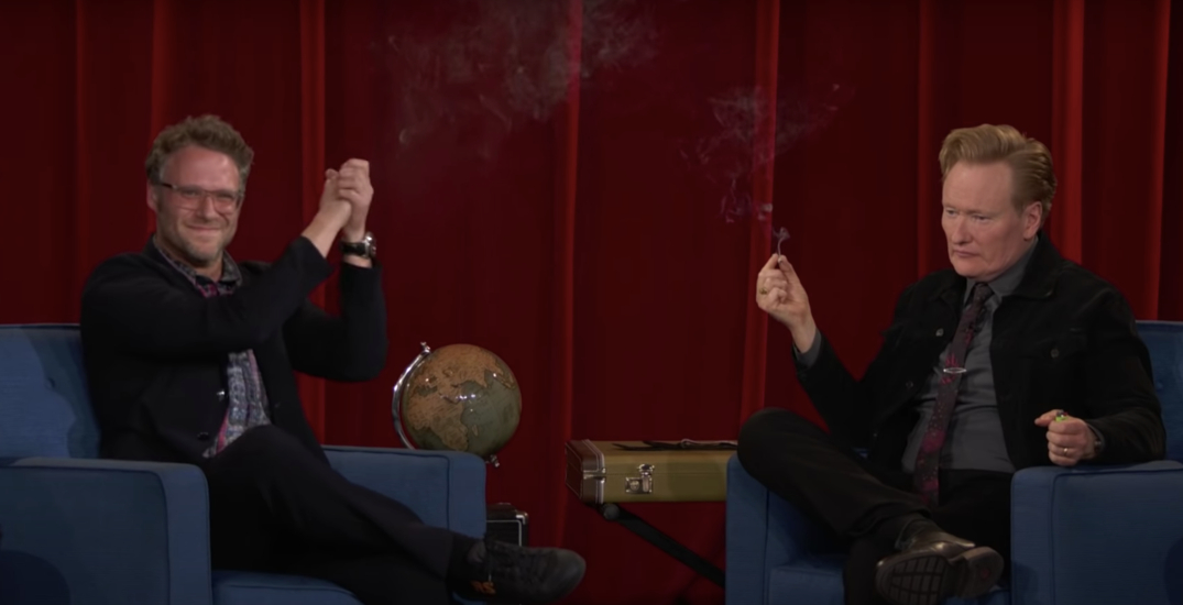 Conan O'Brien and Seth Rogen share joint on stage during interview (VIDEO)