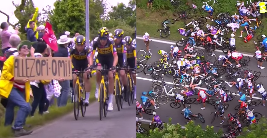 Police looking for fan that caused spectacular crash at Tour de France