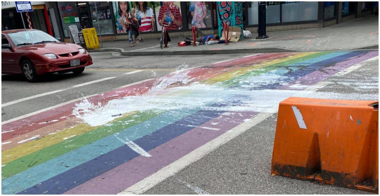 Davie Street rainbow crosswalk defaced in suspected act of vandalism
