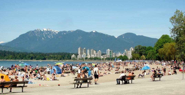 Kitsilano Beach downtown Vancouver skyline