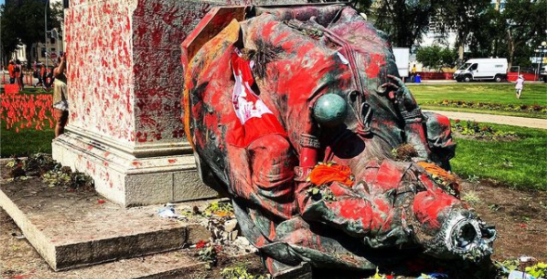 Statue of Queen Victoria toppled by protesters at Manitoba Legislature