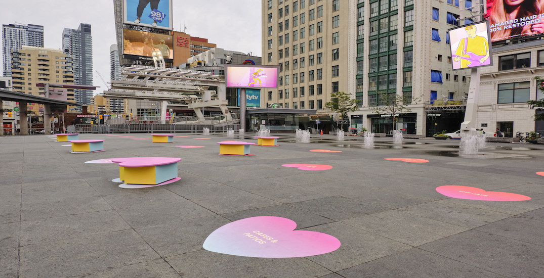 Yonge-Dundas Square is decked out in a field of hearts right now