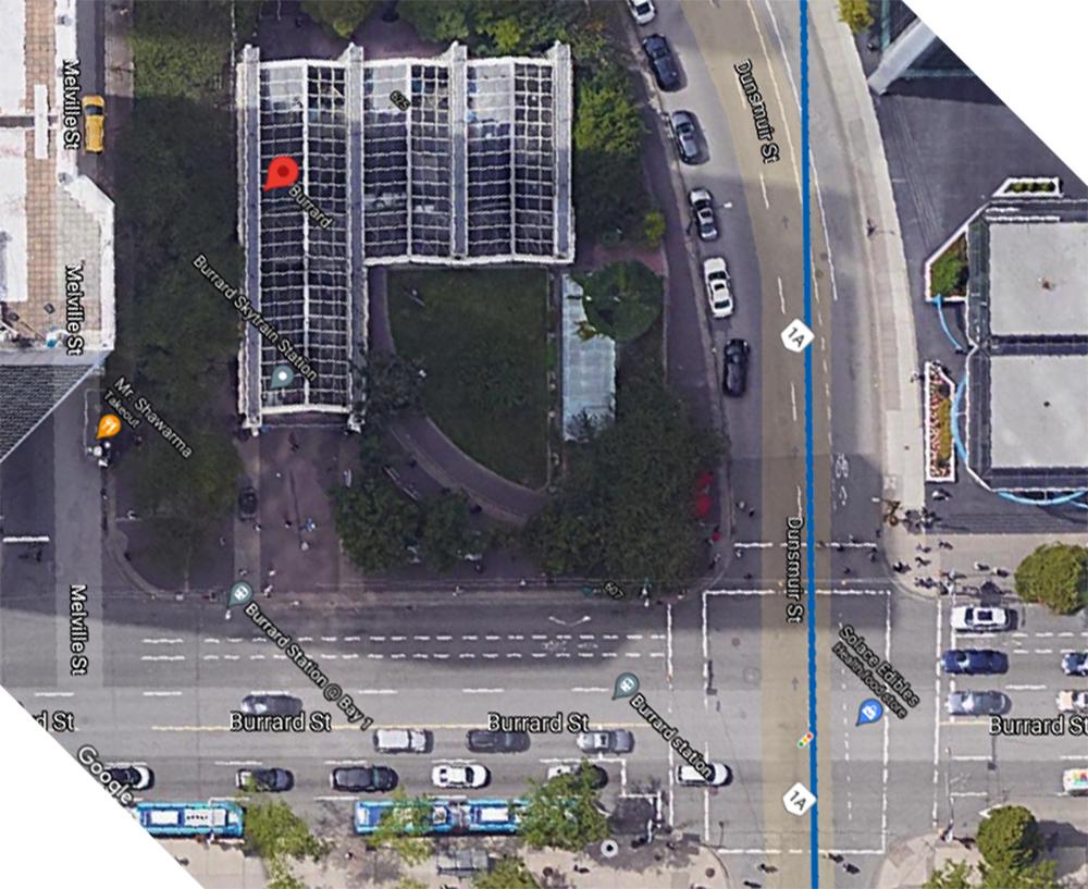 skytrain burrard station aerial