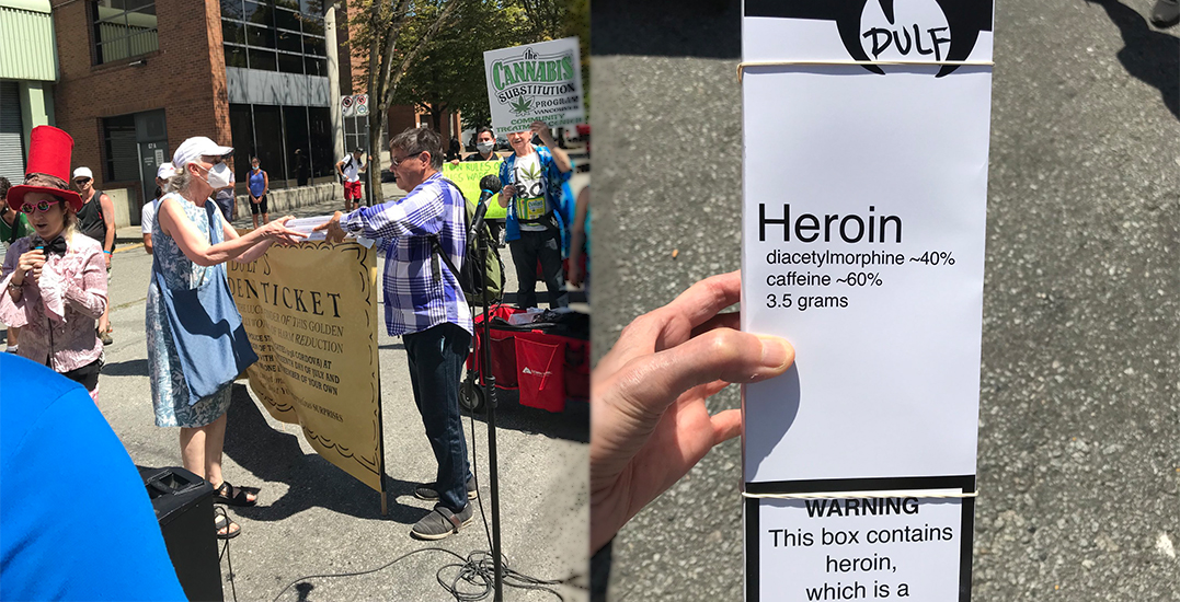 Vancouver city councillor hands out heroin during safe supply protest