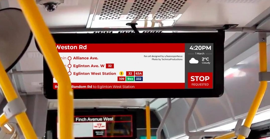 Someone just redesigned the TTC bus screens to be way more helpful