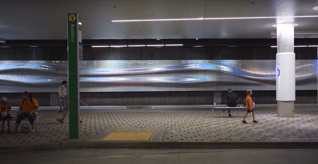 """Giant """"shimmering"""" holographic wall installed at Lonsdale Quay bus exchange"""