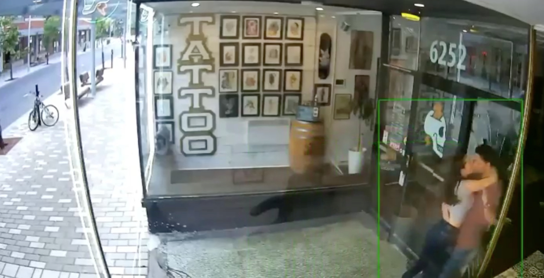 Intense make out causes couple to shatter glass of Montreal barbershop (VIDEO)