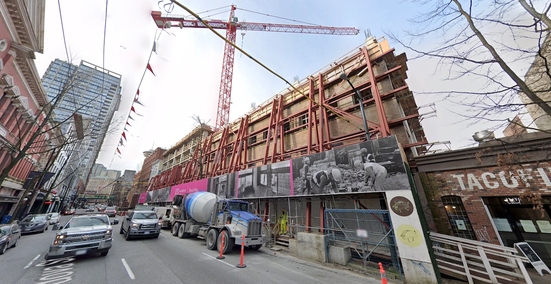westbank blood alley 33 west cordova street vancouver construction march 2021