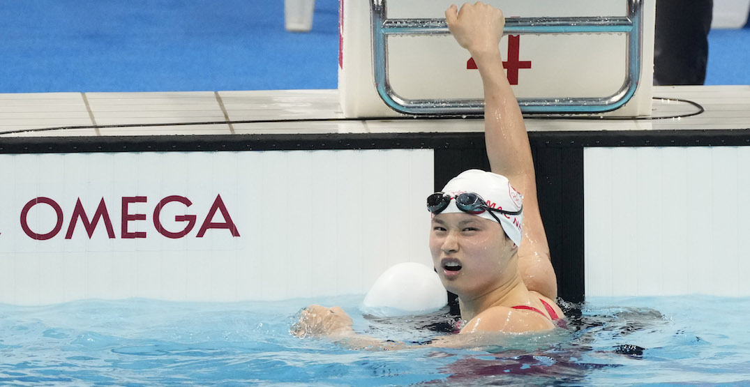 Golden reaction: Without glasses Canadian Olympic hero Mac Neil couldn't see she won