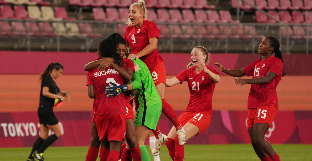 Canadian women's soccer team celebrates first win over USA in 20 years (PHOTOS)
