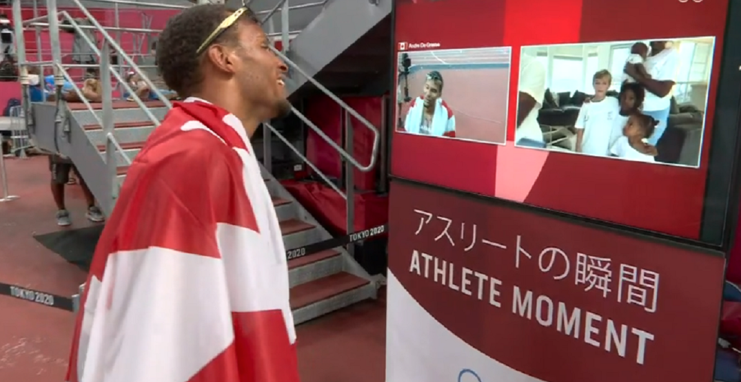 Andre De Grasse shares heartwarming moment with his family after winning gold for Canada (VIDEO)