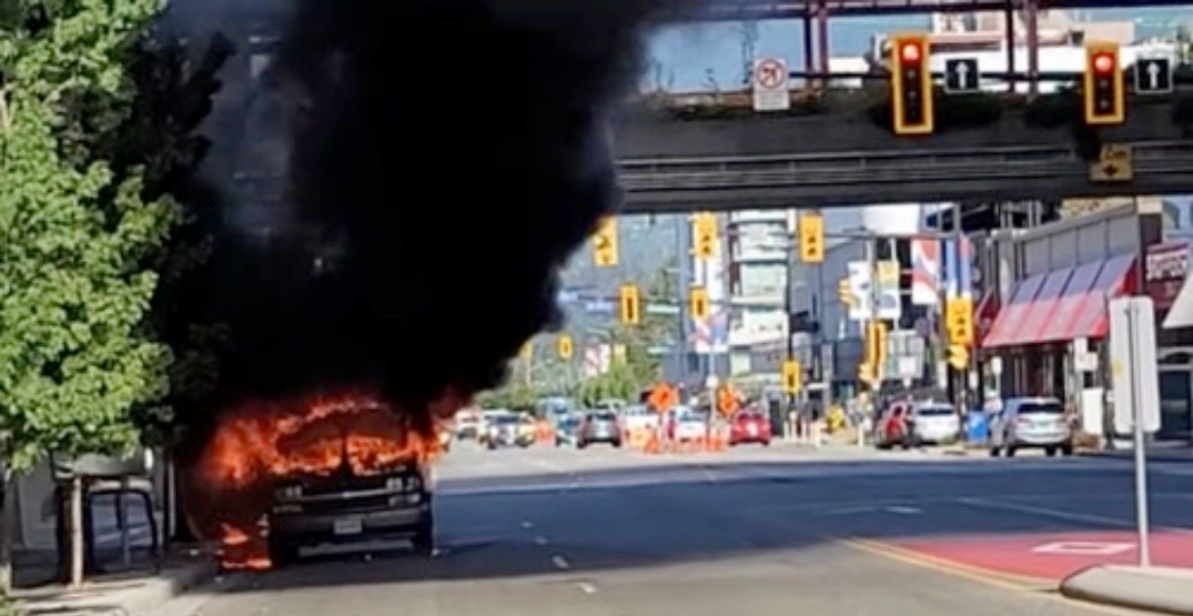 Van engulfed in flames explodes in North Vancouver (VIDEO)
