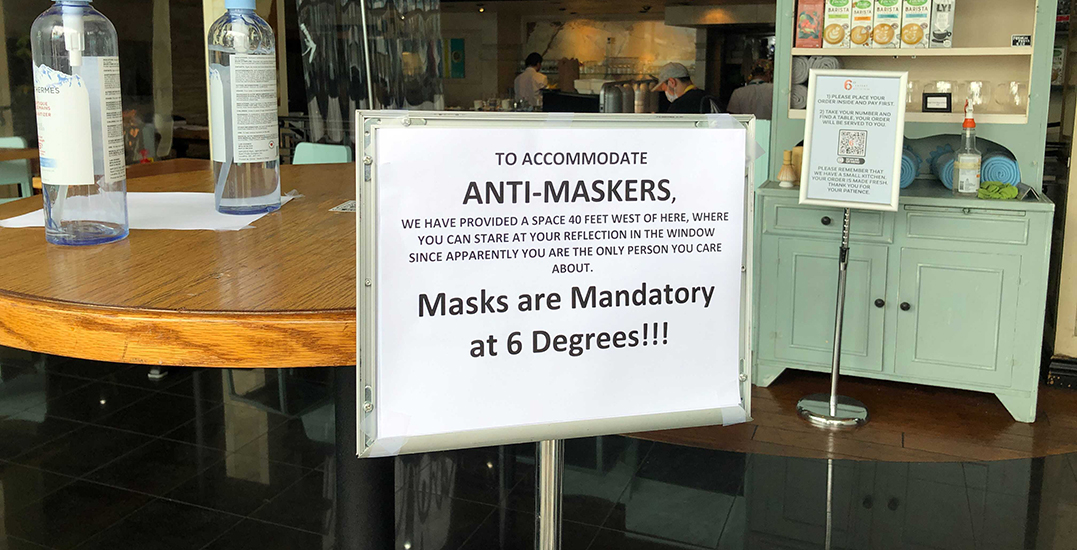 Vancouver restaurant posts unapologetic signs shooing away anti-maskers