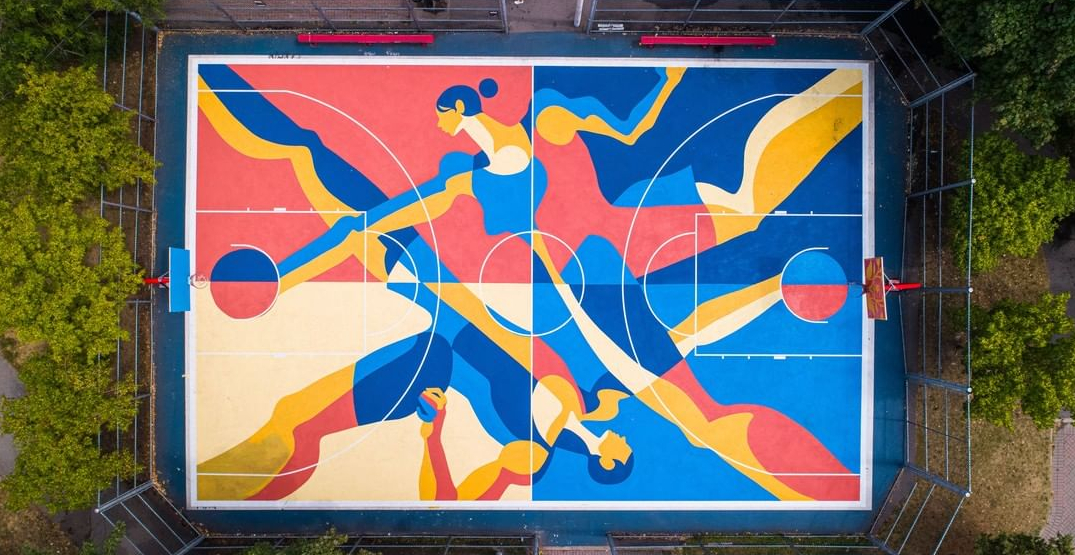Check out this amazing urban art creation at a Montreal basketball court
