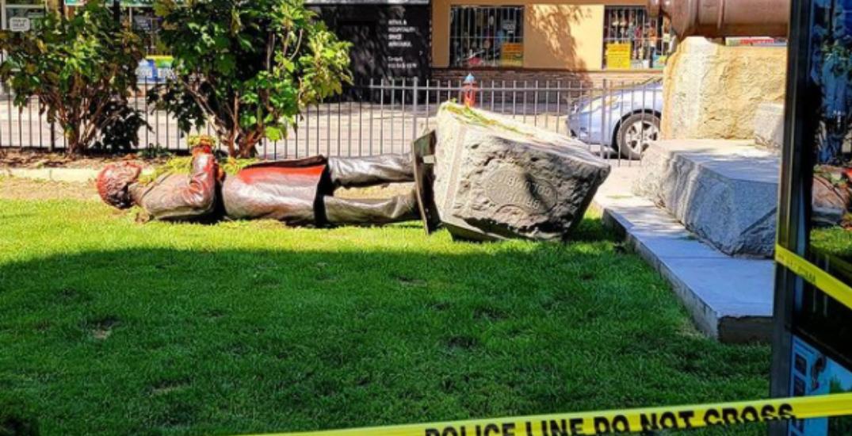 Protestors topple statue of Sir John A. Macdonald in Hamilton Park