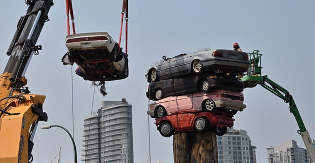 Trans Am Totem sculpture of stacked cars dismantled for repairs and relocation