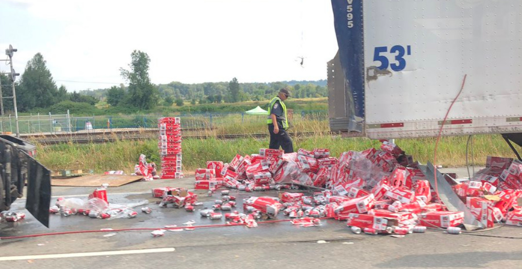 A sticky situation: truck loaded with beer loses haul on Lougheed Highway