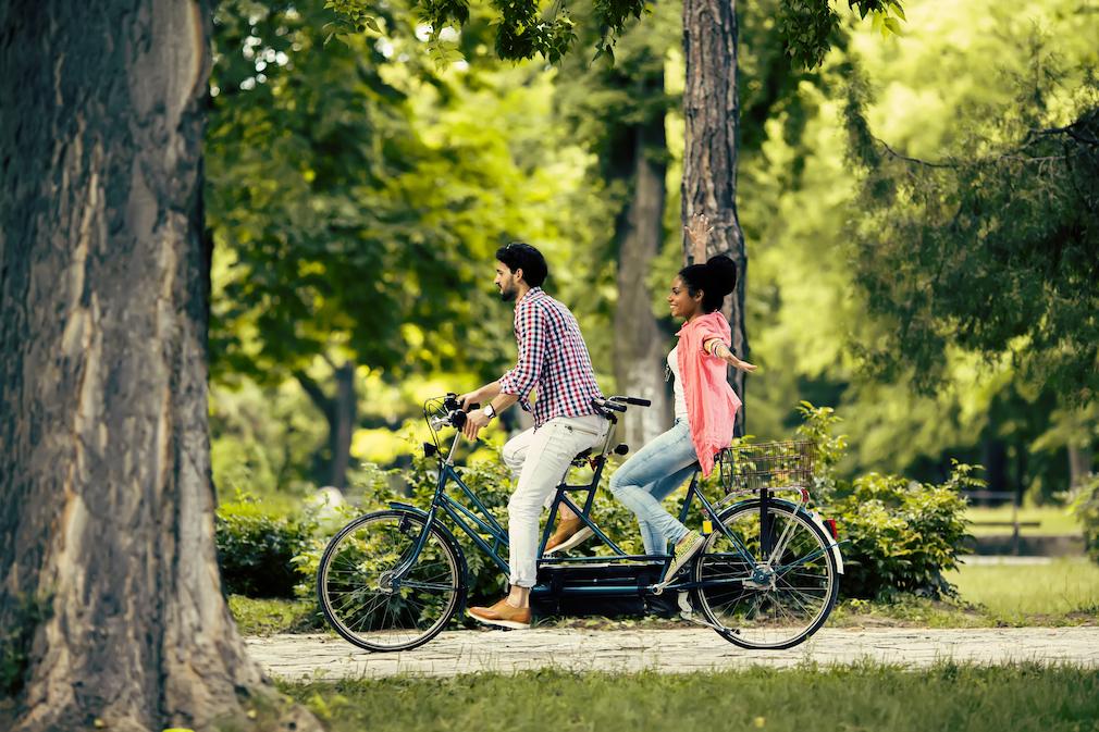 Cycling through a park