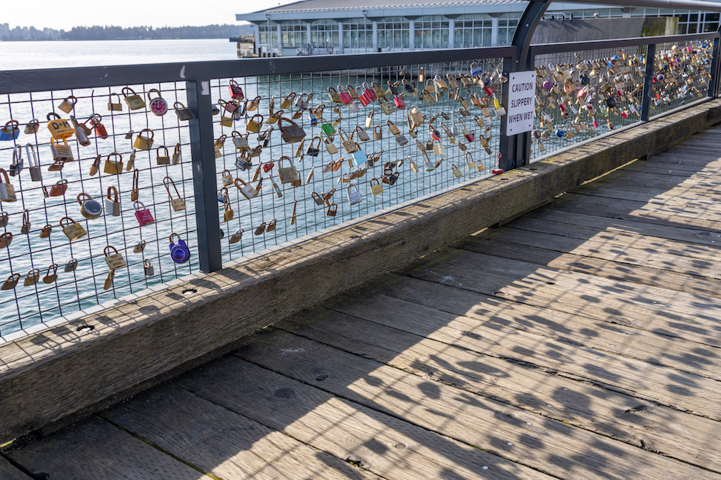 Love locks at Lonsdale Quay
