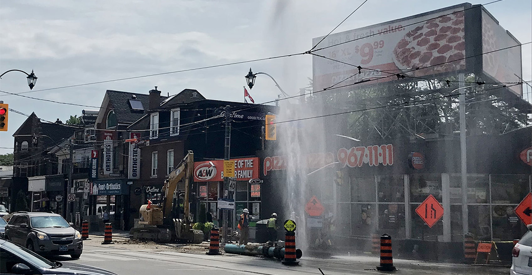 """""""Geyser"""" shoots out of broken watermain on the Danforth"""