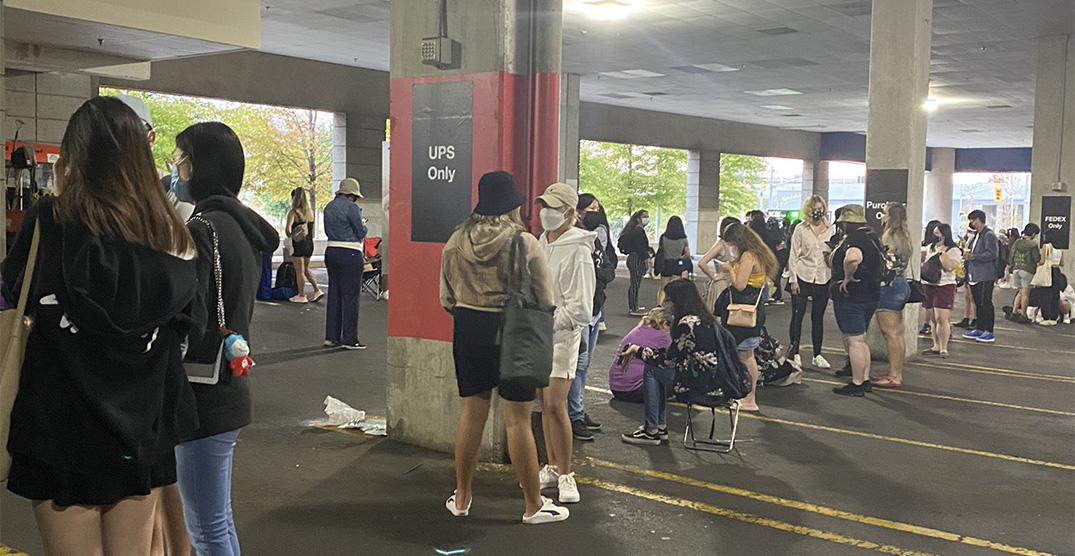 People lined up for hours in the Yorkdale parkade for a K-pop pop-up store