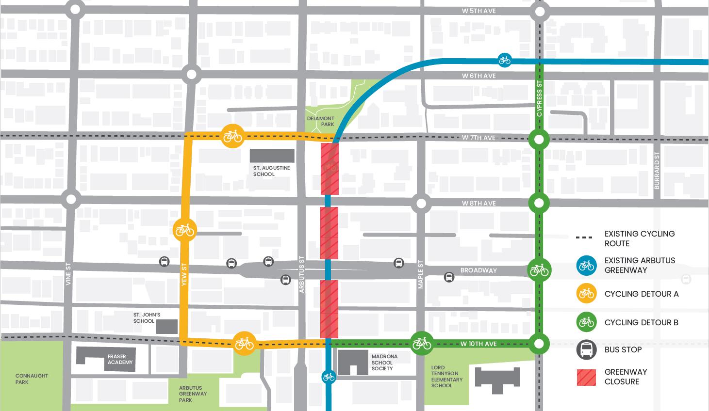 arbutus greenway broadway subway detour
