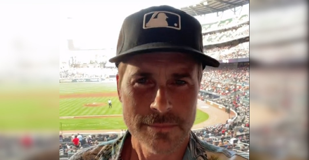 Actor Rob Lowe sports hilarious MLB-branded cap at baseball game