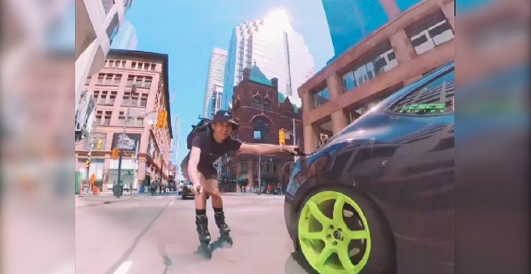 Toronto rollerblader posts footage of crazy ride down middle of Yonge Street (VIDEO)