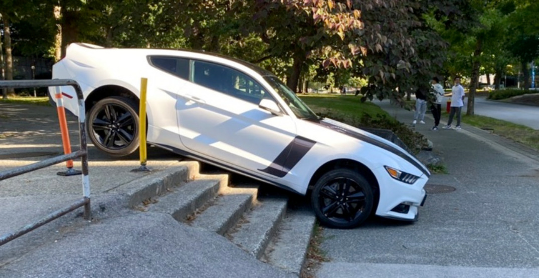 Vehicle gets stuck on stairs at UBC, and it isn't the first time