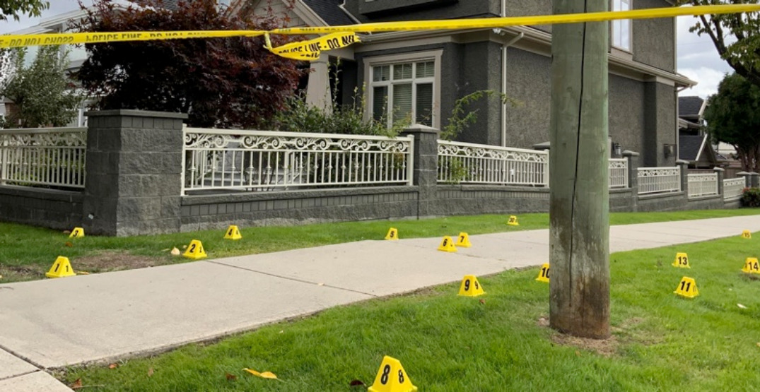 Evidence markers surround home after shots fired report in quiet area of South Vancouver