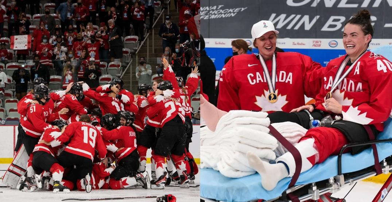 Canada's Blayre Turnbull suffers broken leg in gold medal celebration