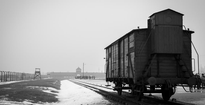Holocaust transport train in Auschwitz II