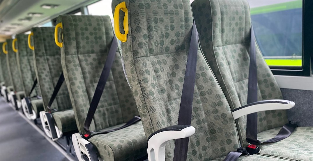 Brand new fleet of GO buses have seatbelts on every seat