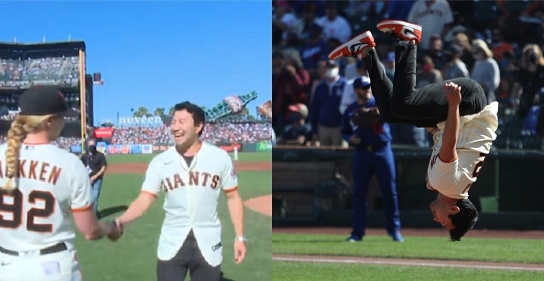 Shang-Chi star Simu Liu lands awesome backflip after throwing first pitch