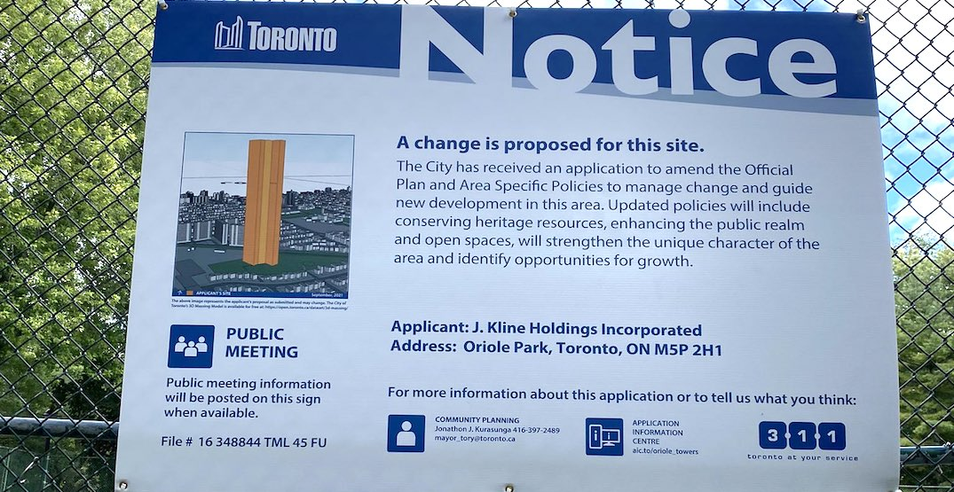 Fake development poster for a massive tower posted in Toronto park