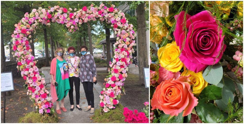 Floral heart displays pop up outside Vancouver hospital after protest