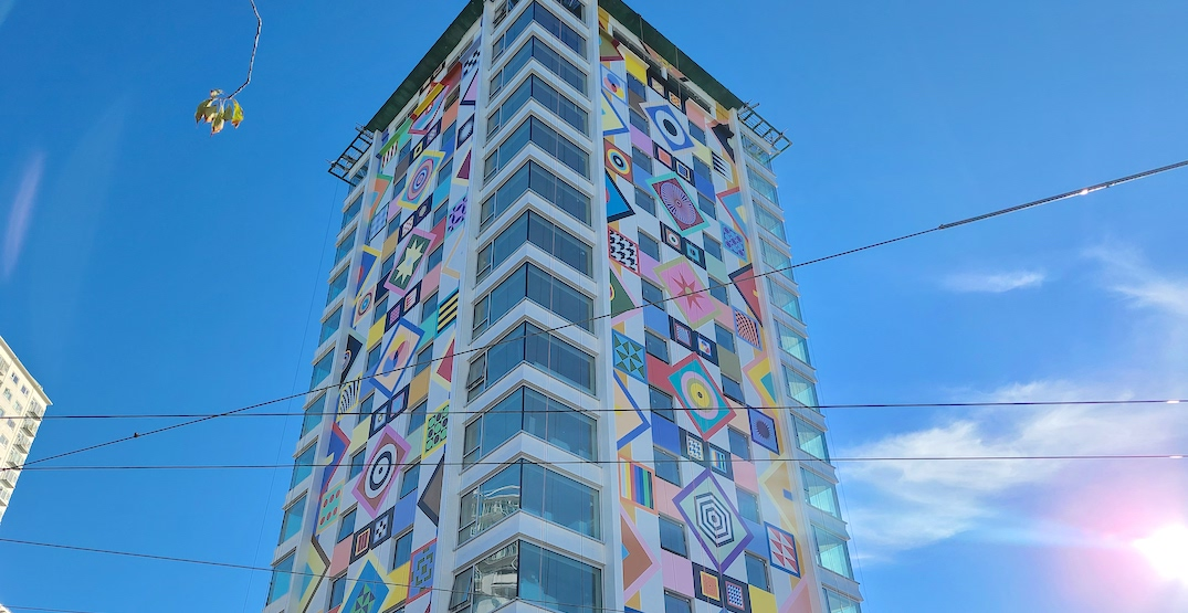 Iconic English Bay tower gets Douglas Coupland mural makeover (PHOTOS)