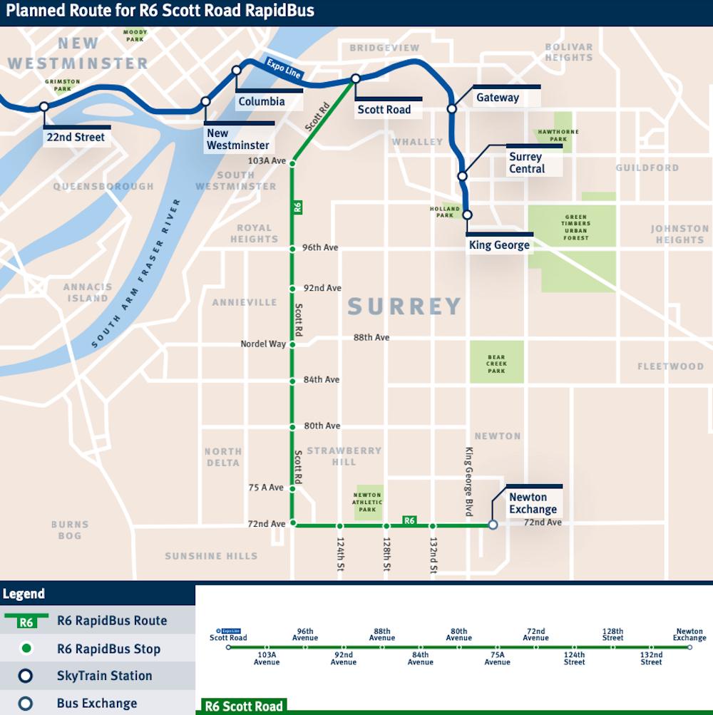 R6 Scott Road RapidBus route map