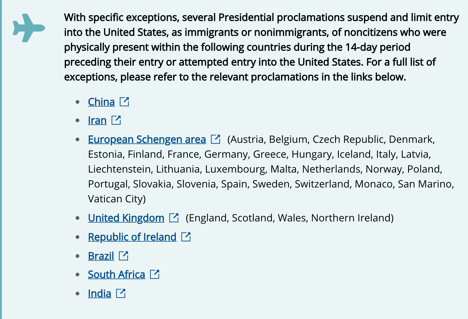 countries restricted