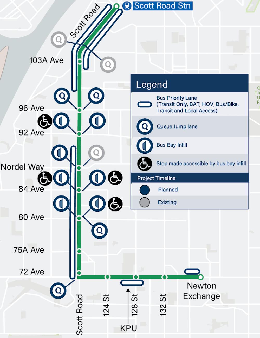 r6 scott road rapidbus route map street changes