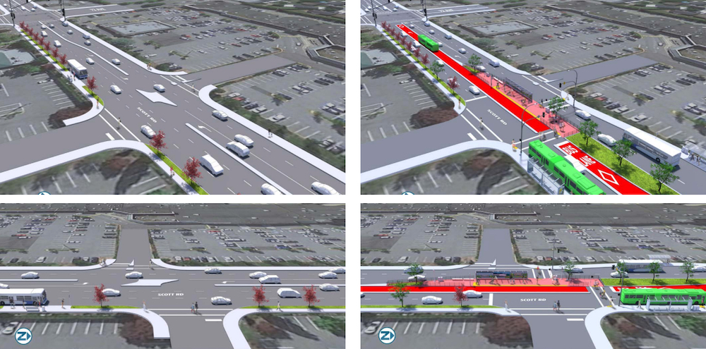 r6 scott road rapidbus 72 avenue stop design