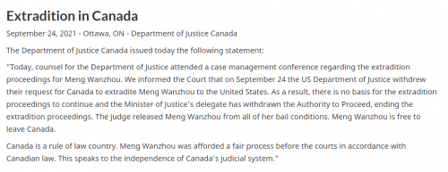 Statement from Justice Department of Canada