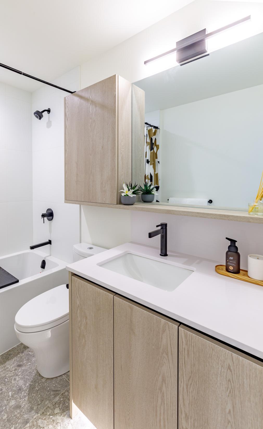 Bathroom in Harlo condo development